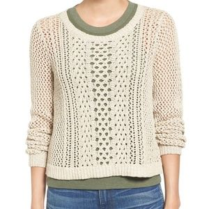Madewell Tan Crochet Knit Sweater Size S
